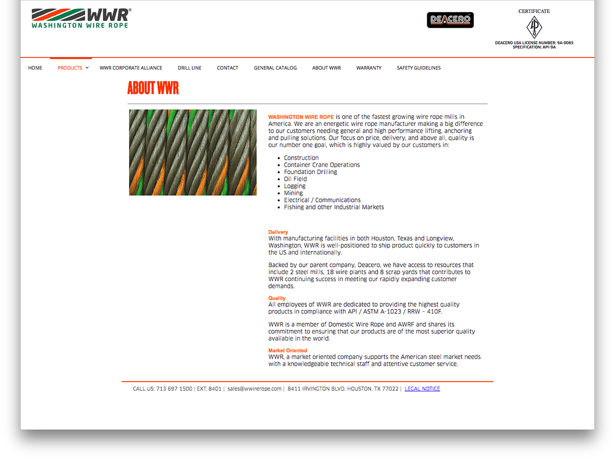 Washington Wire Rope website screenshot