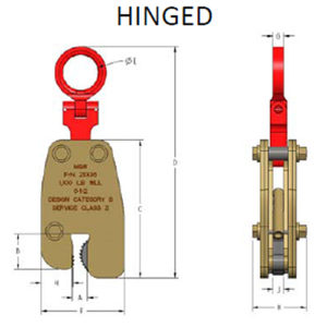 M&W Lifting Clamps - hinged